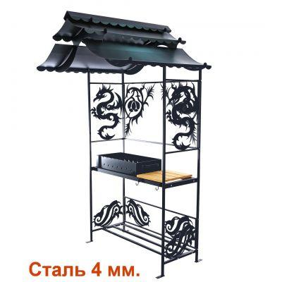 Мангал с крышей ДРАКОН 4 мм